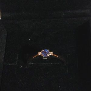 Jewelry - Genuine Sapphire & diamond 10k White gold ring